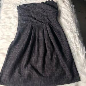 Windsor gray denim material mini strapless dress